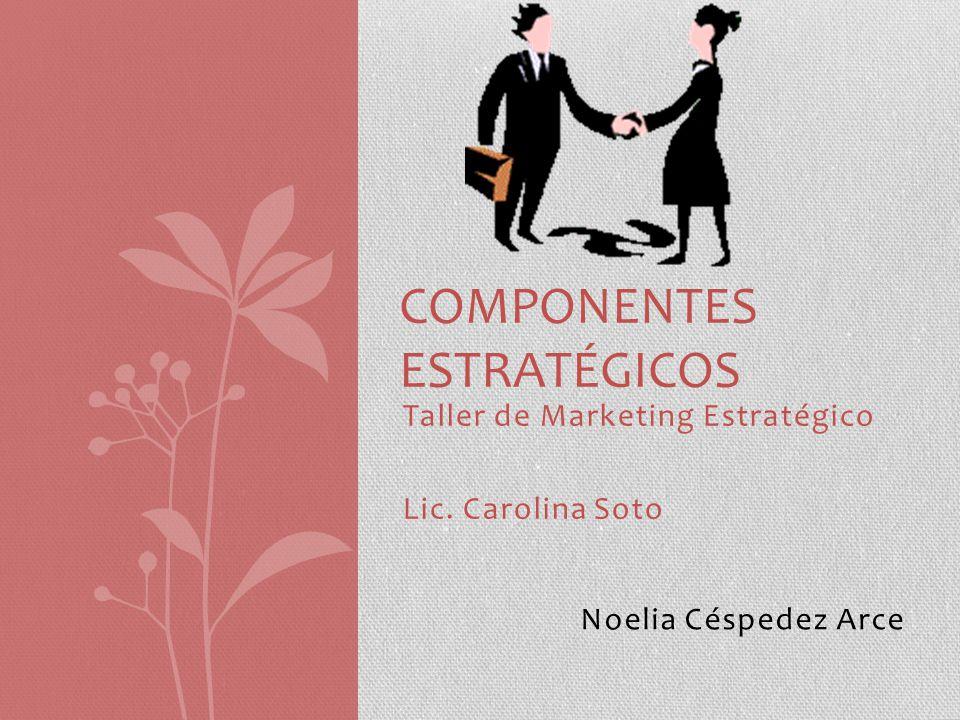 Taller de Marketing Estratégico Lic. Carolina Soto COMPONENTES ESTRATÉGICOS Noelia Céspedez Arce