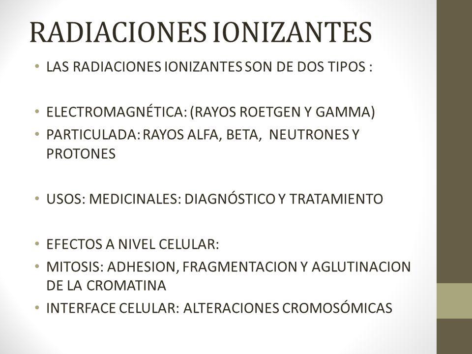 RADIACIONES IONIZANTES LAS RADIACIONES IONIZANTES SON DE DOS TIPOS : ELECTROMAGNÉTICA: (RAYOS ROETGEN Y GAMMA) PARTICULADA: RAYOS ALFA, BETA, NEUTRONE