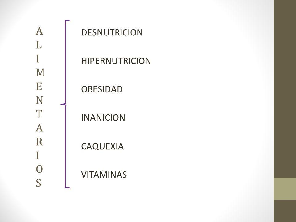 ALIMENTARIOSALIMENTARIOS DESNUTRICION HIPERNUTRICION OBESIDAD INANICION CAQUEXIA VITAMINAS
