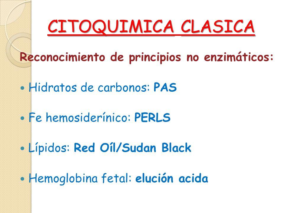 CITOQUIMICACLASICA CITOQUIMICA CLASICA Reconocimiento de principios no enzimáticos: Hidratos de carbonos: PAS Fe hemosiderínico: PERLS Lípidos: Red Oí