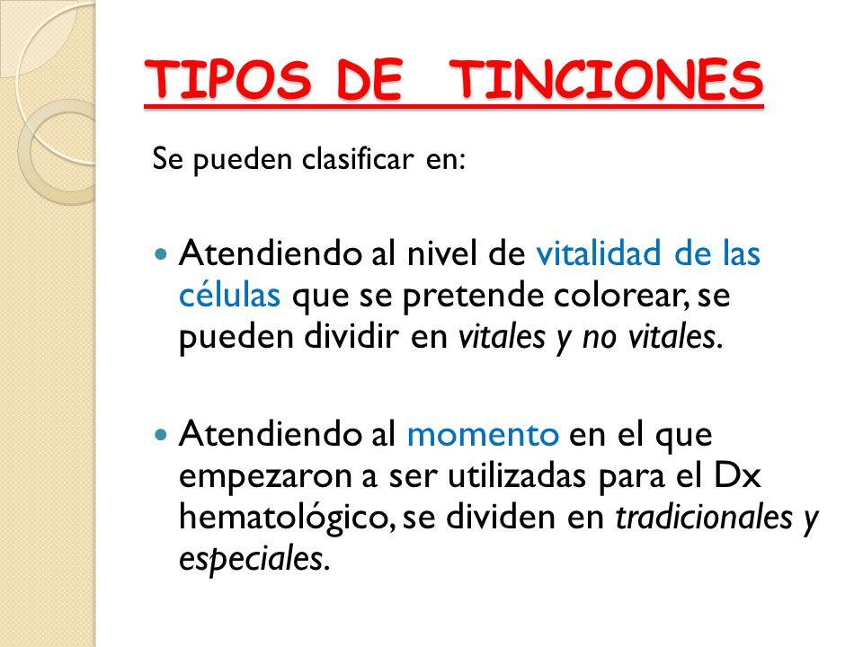 TIPOS DE TINCIONES Se pueden clasificar en: Atendiendo al nivel de vitalidad de las células que se pretende colorear, se pueden dividir en vitales y n