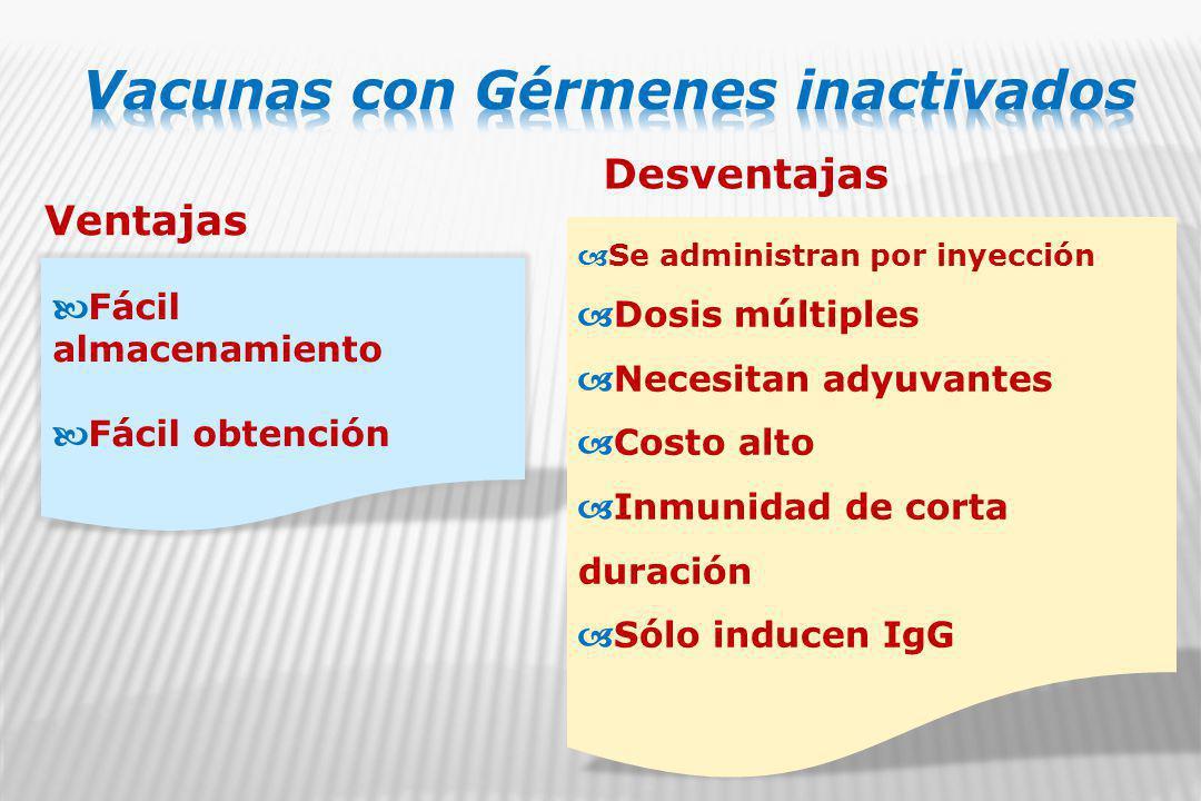 Ventajas Desventajas Fácil almacenamiento Fácil obtención Se administran por inyección Dosis múltiples Necesitan adyuvantes Costo alto Inmunidad de corta duración Sólo inducen IgG