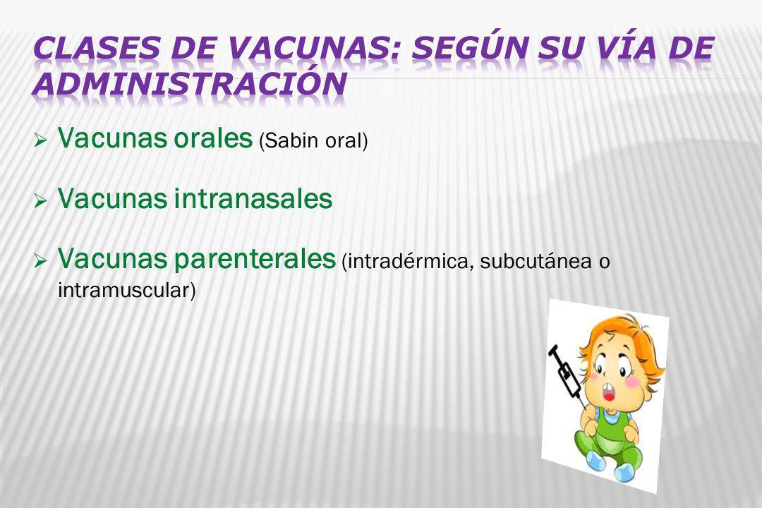 Vacunas orales (Sabin oral) Vacunas intranasales Vacunas parenterales (intradérmica, subcutánea o intramuscular)