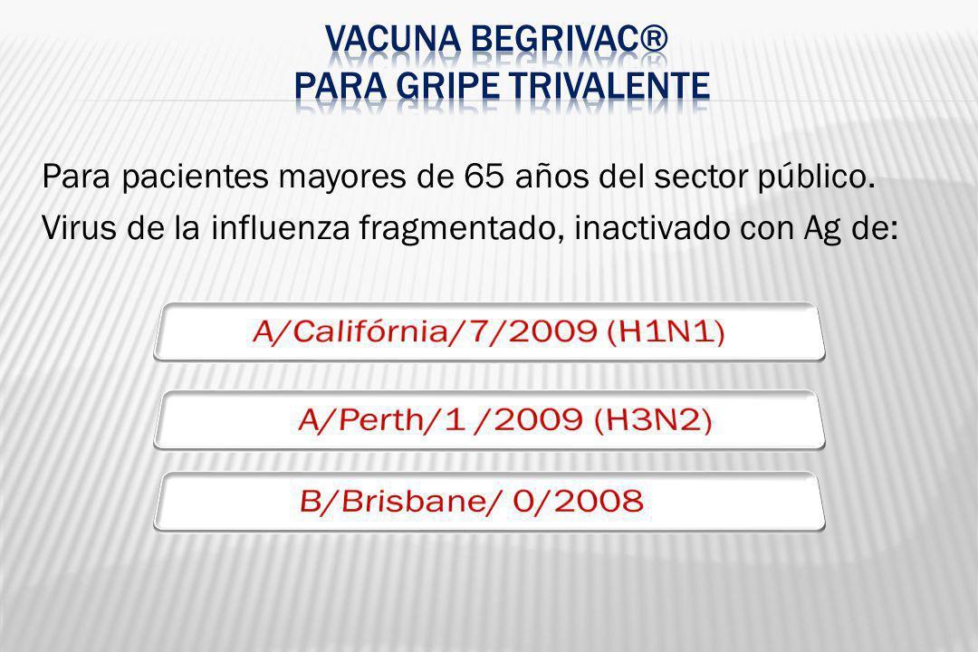 Para pacientes mayores de 65 años del sector público. Virus de la influenza fragmentado, inactivado con Ag de: