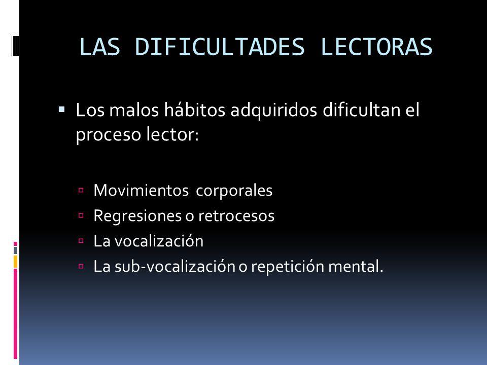 LAS DIFICULTADES LECTORAS Los malos hábitos adquiridos dificultan el proceso lector: Movimientos corporales Regresiones o retrocesos La vocalización L