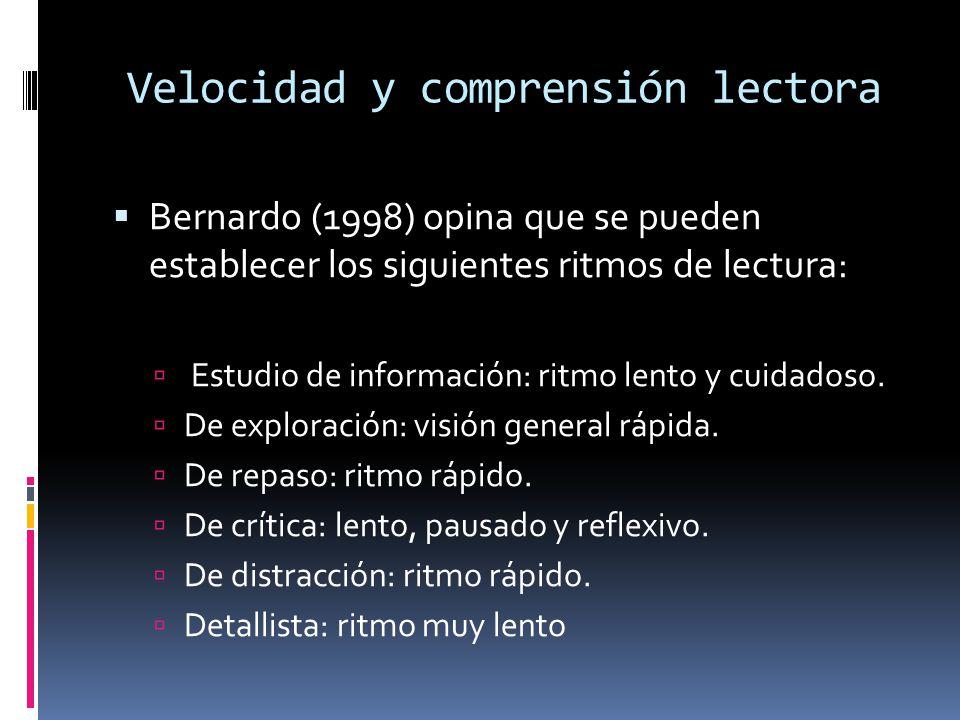 Velocidad y comprensión lectora Bernardo (1998) opina que se pueden establecer los siguientes ritmos de lectura: Estudio de información: ritmo lento y