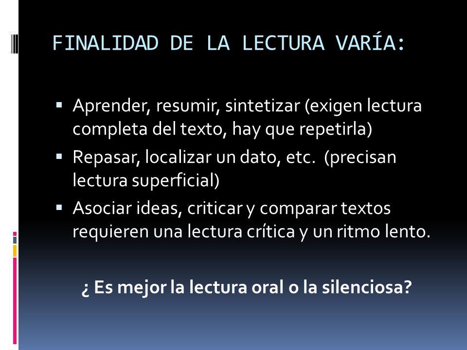 FINALIDAD DE LA LECTURA VARÍA: Aprender, resumir, sintetizar (exigen lectura completa del texto, hay que repetirla) Repasar, localizar un dato, etc. (