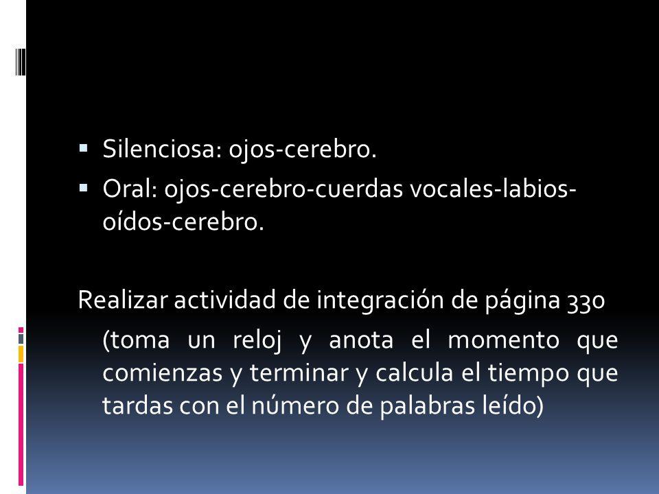 Silenciosa: ojos-cerebro. Oral: ojos-cerebro-cuerdas vocales-labios- oídos-cerebro. Realizar actividad de integración de página 330 (toma un reloj y a