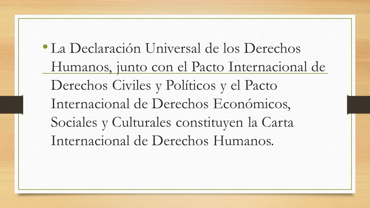 La Declaración Universal de los Derechos Humanos, junto con el Pacto Internacional de Derechos Civiles y Políticos y el Pacto Internacional de Derecho