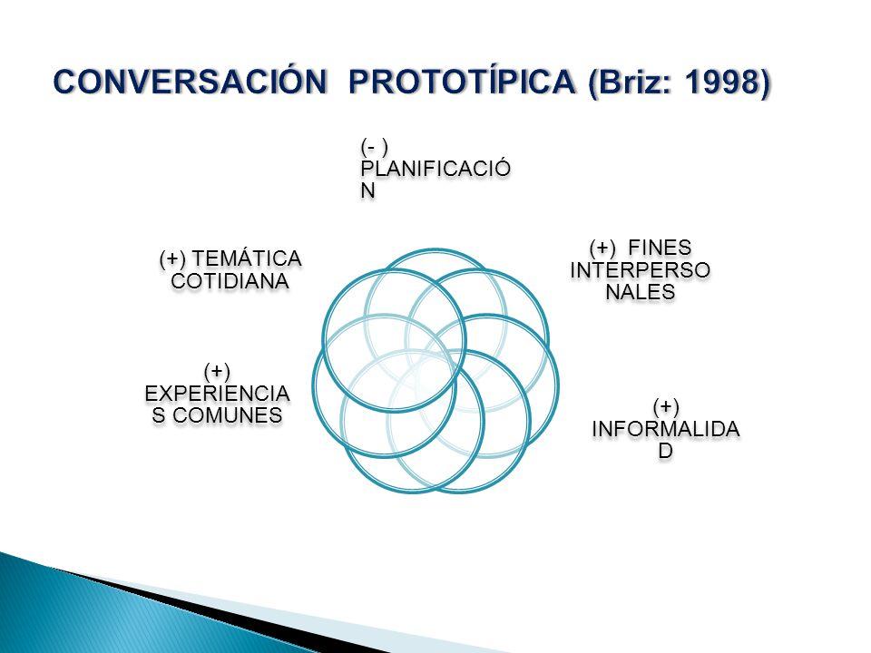 (- ) PLANIFICACIÓ N (+) FINES INTERPERSO NALES (+) INFORMALIDA D (+) EXPERIENCIA S COMUNES (+) TEMÁTICA COTIDIANA