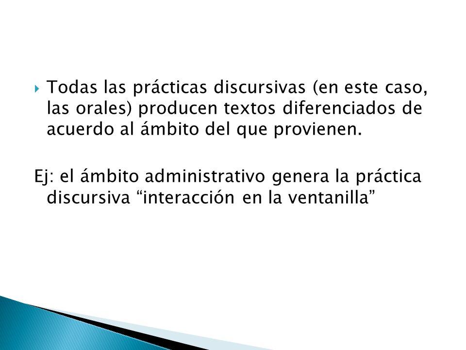 Todas las prácticas discursivas (en este caso, las orales) producen textos diferenciados de acuerdo al ámbito del que provienen. Ej: el ámbito adminis