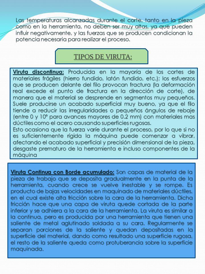 Tipos básicos de viruta (a) viruta discontinua; (b) y (c) viruta continua Viruta Continua: Presente en el corte de la mayoría de los materiales dúctiles, puesto que permiten el corte sin lugar a la fractura.