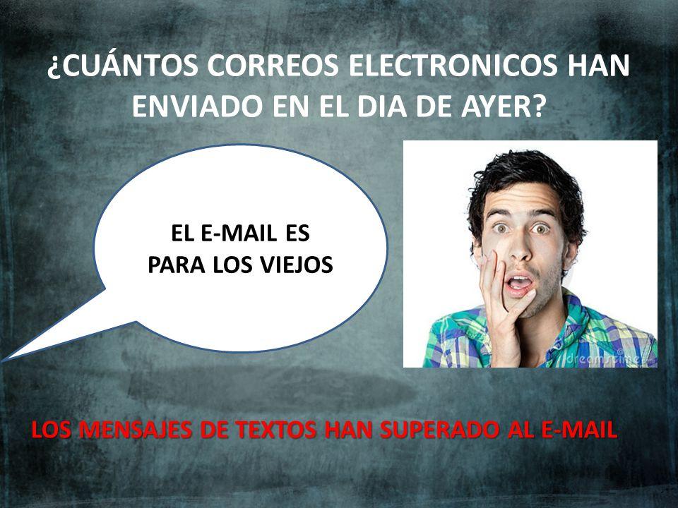 ¿CUÁNTOS CORREOS ELECTRONICOS HAN ENVIADO EN EL DIA DE AYER? LOS MENSAJES DE TEXTOS HAN SUPERADO AL E-MAIL EL E-MAIL ES PARA LOS VIEJOS