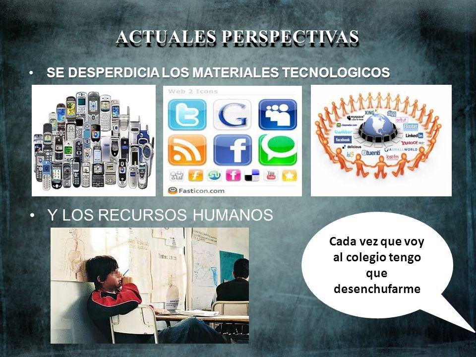 Y LOS RECURSOS HUMANOS ACTUALES PERSPECTIVAS SE DESPERDICIA LOS MATERIALES TECNOLOGICOSSE DESPERDICIA LOS MATERIALES TECNOLOGICOS Cada vez que voy al