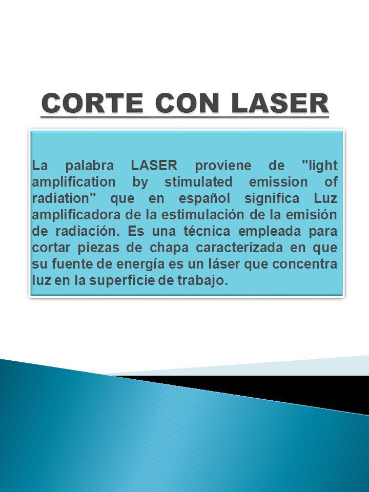 La palabra LASER proviene de light amplification by stimulated emission of radiation que en español significa Luz amplificadora de la estimulación de la emisión de radiación.