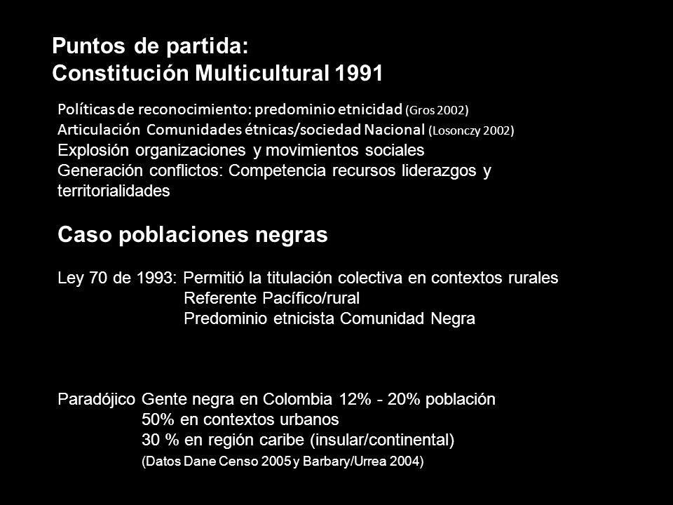 Puntos de partida: Constitución Multicultural 1991 Políticas de reconocimiento: predominio etnicidad (Gros 2002) Articulación Comunidades étnicas/soci