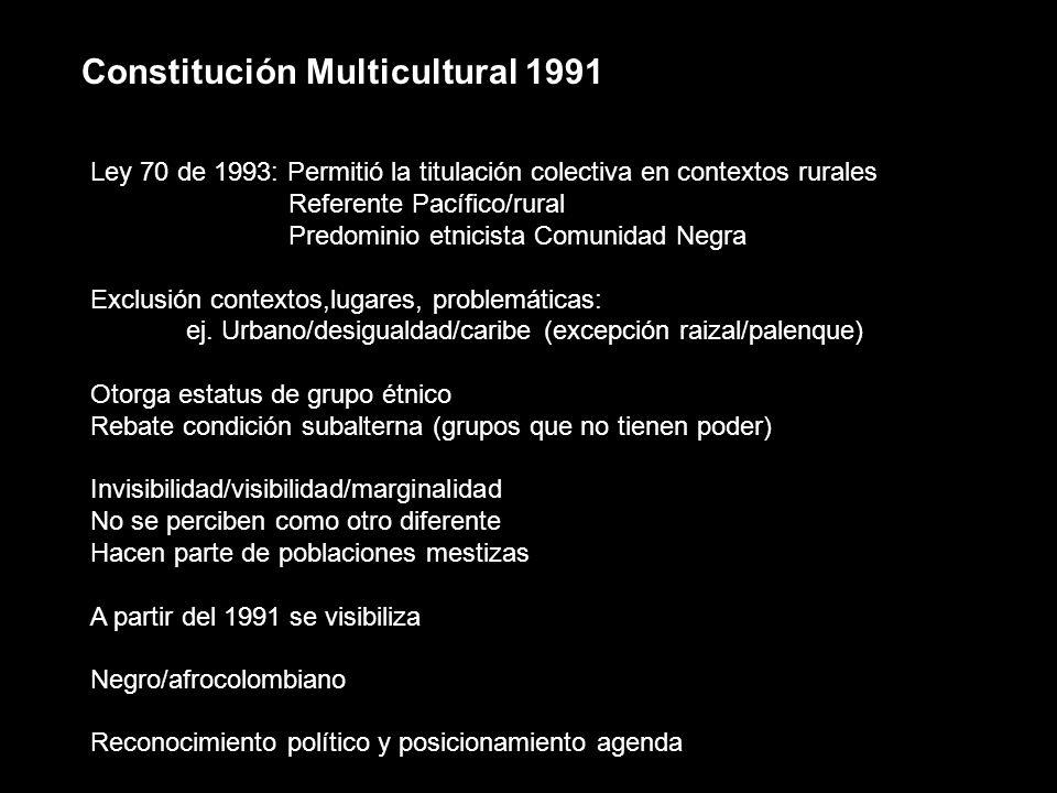 Constitución Multicultural 1991 Ley 70 de 1993: Permitió la titulación colectiva en contextos rurales Referente Pacífico/rural Predominio etnicista Co