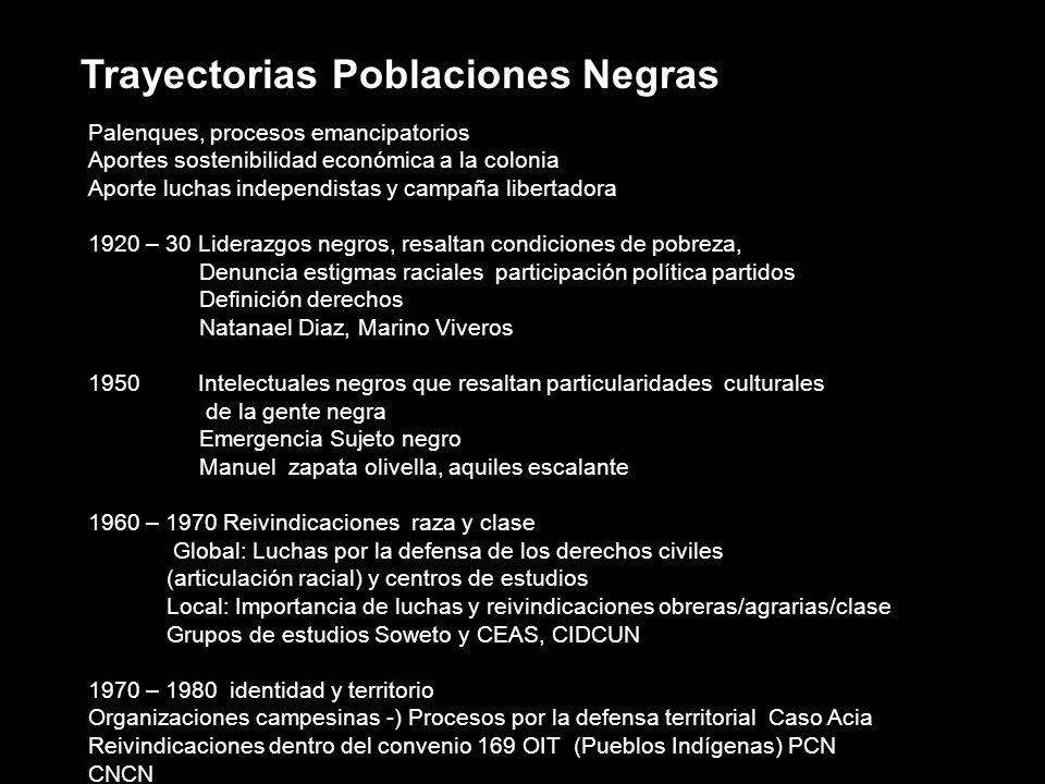 Trayectorias Poblaciones Negras Palenques, procesos emancipatorios Aportes sostenibilidad económica a la colonia Aporte luchas independistas y campaña