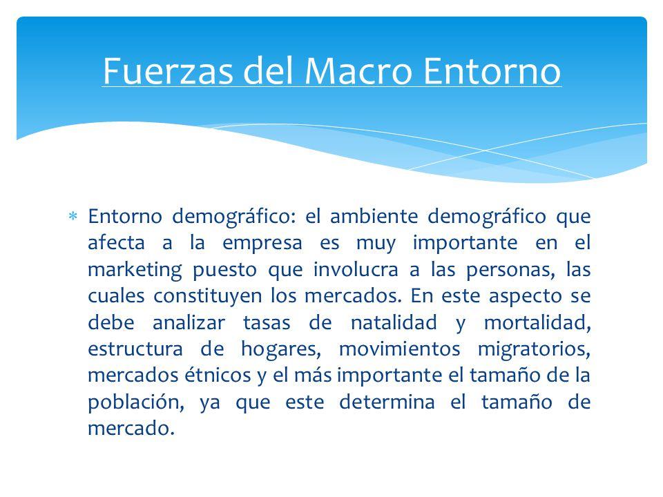 Entorno económico: constituido por factores que influyen en el poder de compra y los patrones de gasto de los consumidores.
