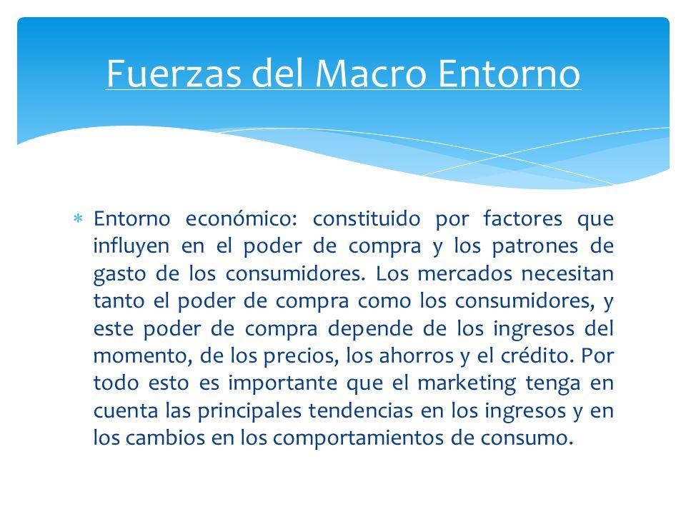 Entorno económico: constituido por factores que influyen en el poder de compra y los patrones de gasto de los consumidores. Los mercados necesitan tan