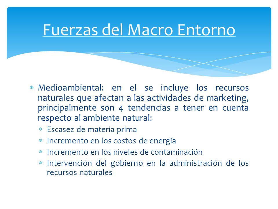 Medioambiental: en el se incluye los recursos naturales que afectan a las actividades de marketing, principalmente son 4 tendencias a tener en cuenta