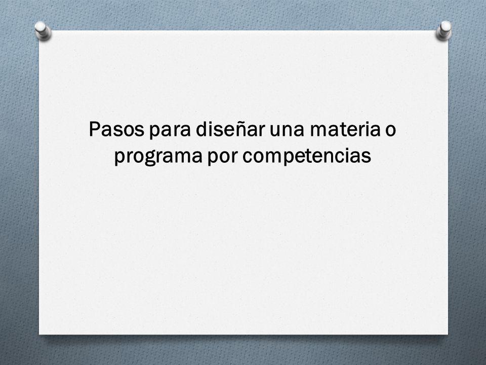Pasos para diseñar una materia o programa por competencias