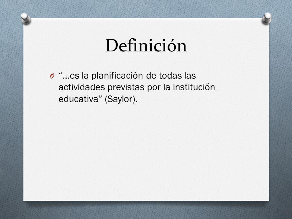 Definición O …es la planificación de todas las actividades previstas por la institución educativa (Saylor).