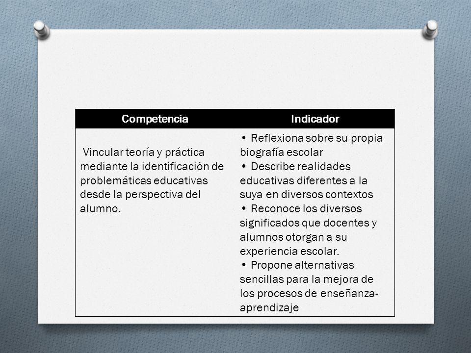 CompetenciaIndicador Vincular teoría y práctica mediante la identificación de problemáticas educativas desde la perspectiva del alumno. Reflexiona sob