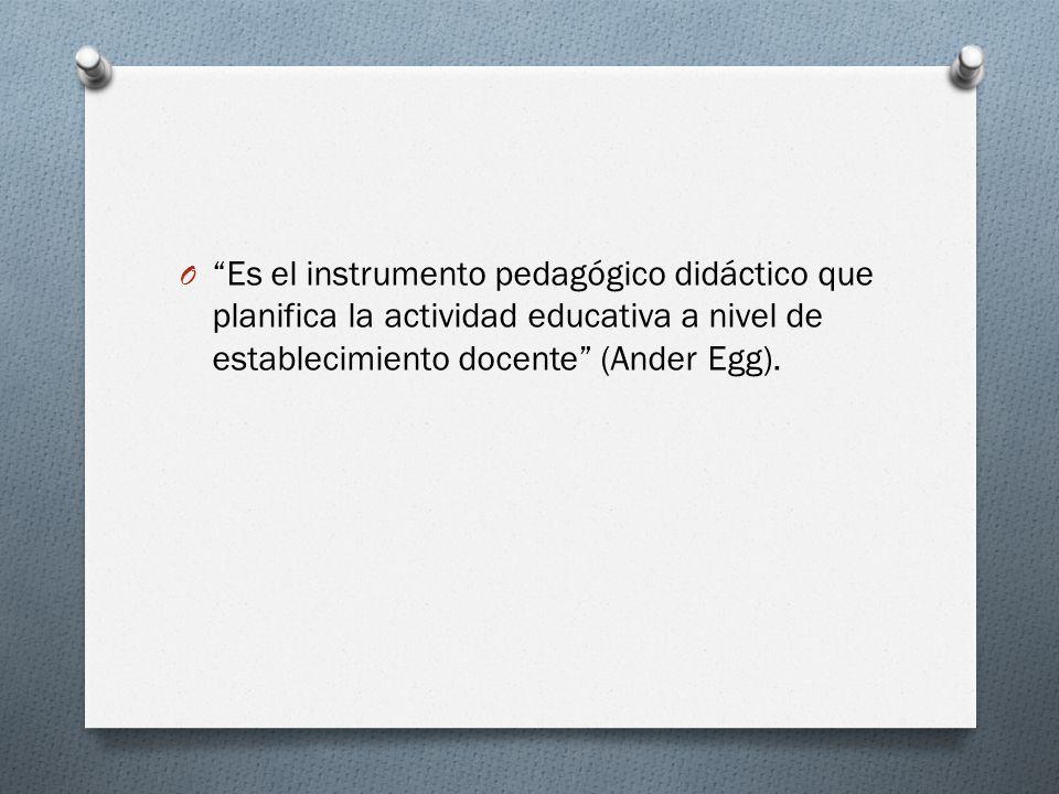 O Es el instrumento pedagógico didáctico que planifica la actividad educativa a nivel de establecimiento docente (Ander Egg).