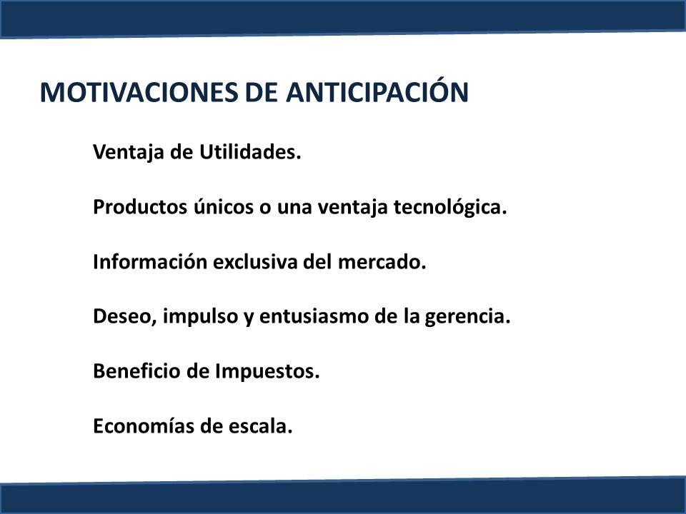 MOTIVACIONES DE ANTICIPACIÓN Ventaja de Utilidades. Productos únicos o una ventaja tecnológica. Información exclusiva del mercado. Deseo, impulso y en