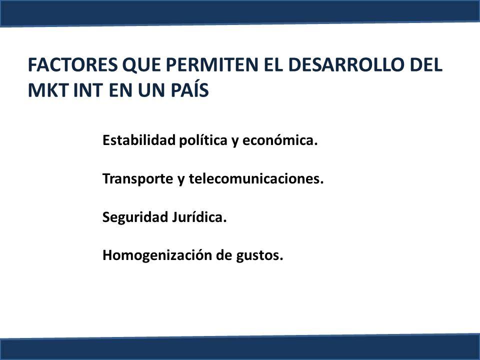 FACTORES QUE PERMITEN EL DESARROLLO DEL MKT INT EN UN PAÍS Estabilidad política y económica. Transporte y telecomunicaciones. Seguridad Jurídica. Homo