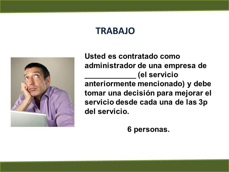 TRABAJO Usted es contratado como administrador de una empresa de ____________ (el servicio anteriormente mencionado) y debe tomar una decisión para me