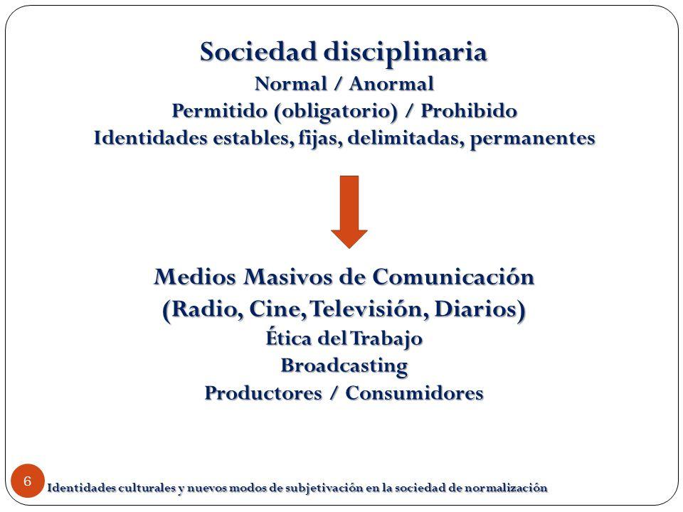 Identidades culturales y nuevos modos de subjetivación en la sociedad de normalización 6 Sociedad disciplinaria Normal / Anormal Permitido (obligatori