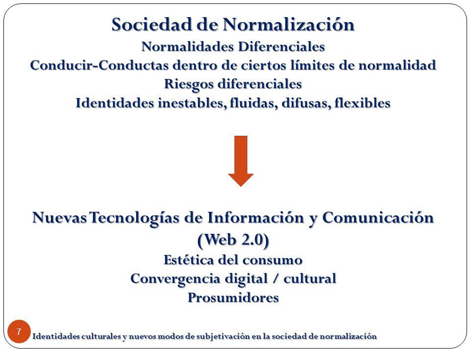 Identidades culturales y nuevos modos de subjetivación en la sociedad de normalización 7 Sociedad de Normalización Normalidades Diferenciales Conducir