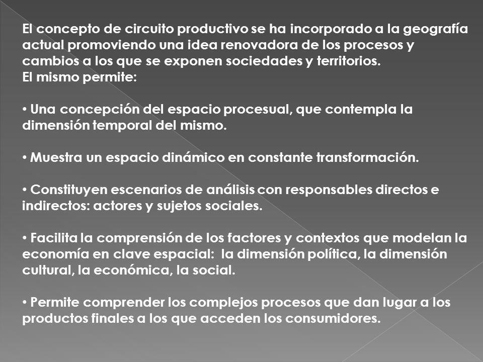 El concepto de circuito productivo se ha incorporado a la geografía actual promoviendo una idea renovadora de los procesos y cambios a los que se exponen sociedades y territorios.
