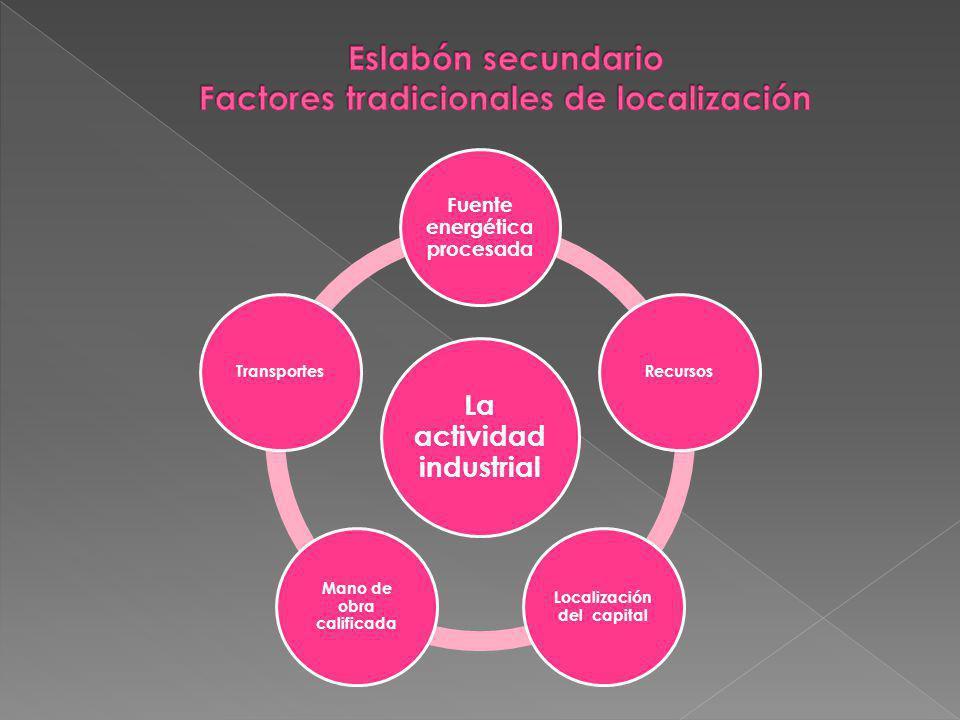 La actividad industrial Fuente energética procesada Recursos Localización del capital Mano de obra calificada Transportes