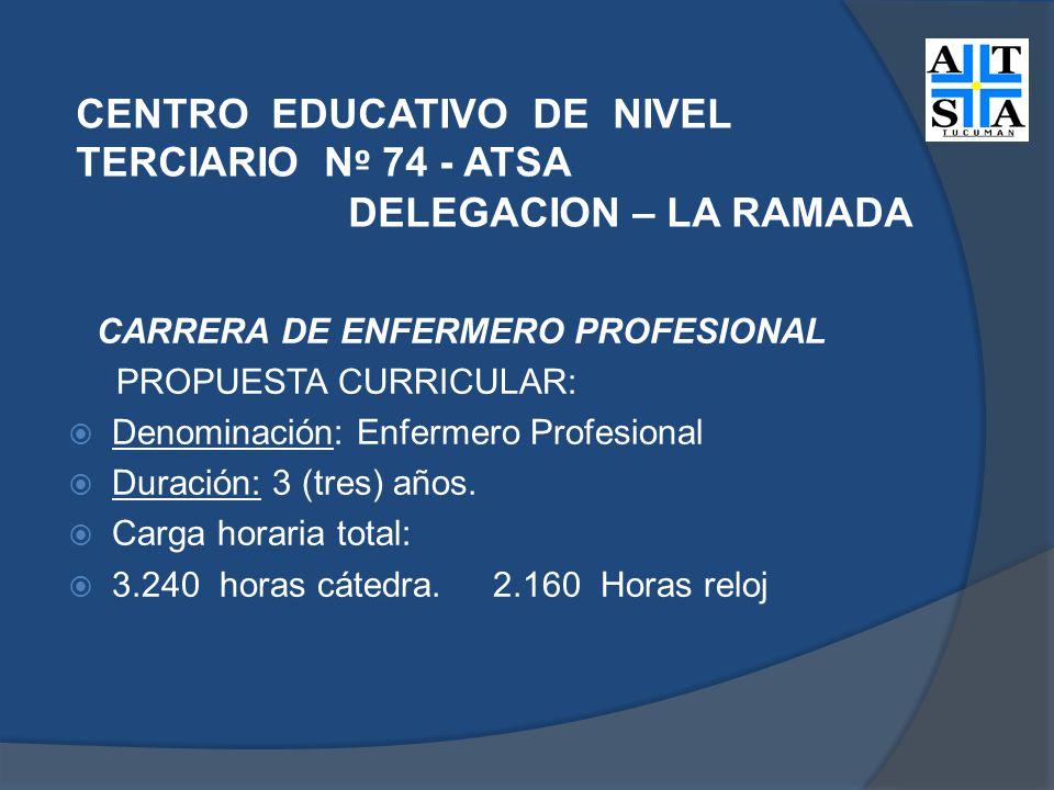 CENTRO EDUCATIVO DE NIVEL TERCIARIO N º 74 - ATSA DELEGACION – LA RAMADA CARRERA DE ENFERMERO PROFESIONAL PROPUESTA CURRICULAR: Denominación: Enfermero Profesional Duración: 3 (tres) años.
