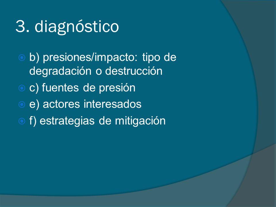 3. diagnóstico b) presiones/impacto: tipo de degradación o destrucción c) fuentes de presión e) actores interesados f) estrategias de mitigación