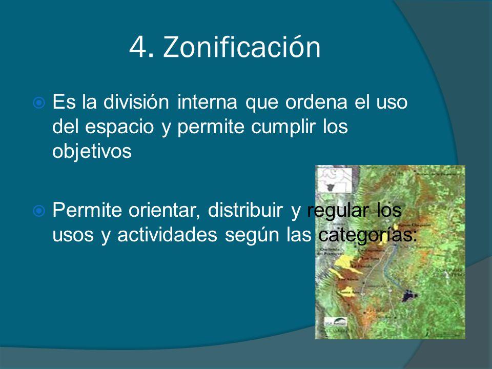 4. Zonificación Es la división interna que ordena el uso del espacio y permite cumplir los objetivos Permite orientar, distribuir y regular los usos y