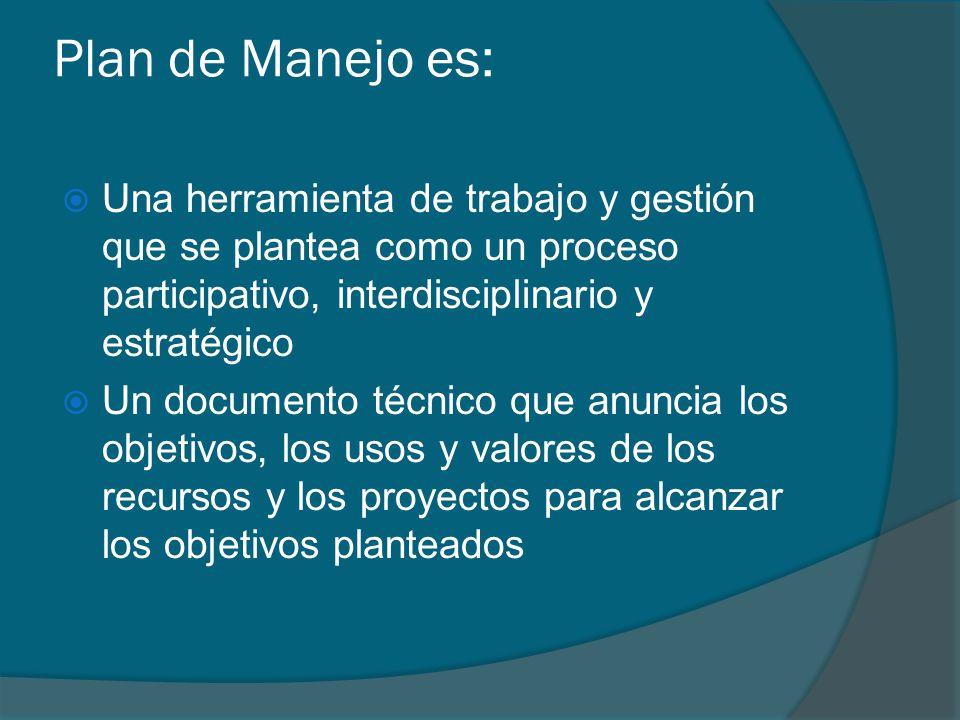 Plan de Manejo es: Una herramienta de trabajo y gestión que se plantea como un proceso participativo, interdisciplinario y estratégico Un documento té