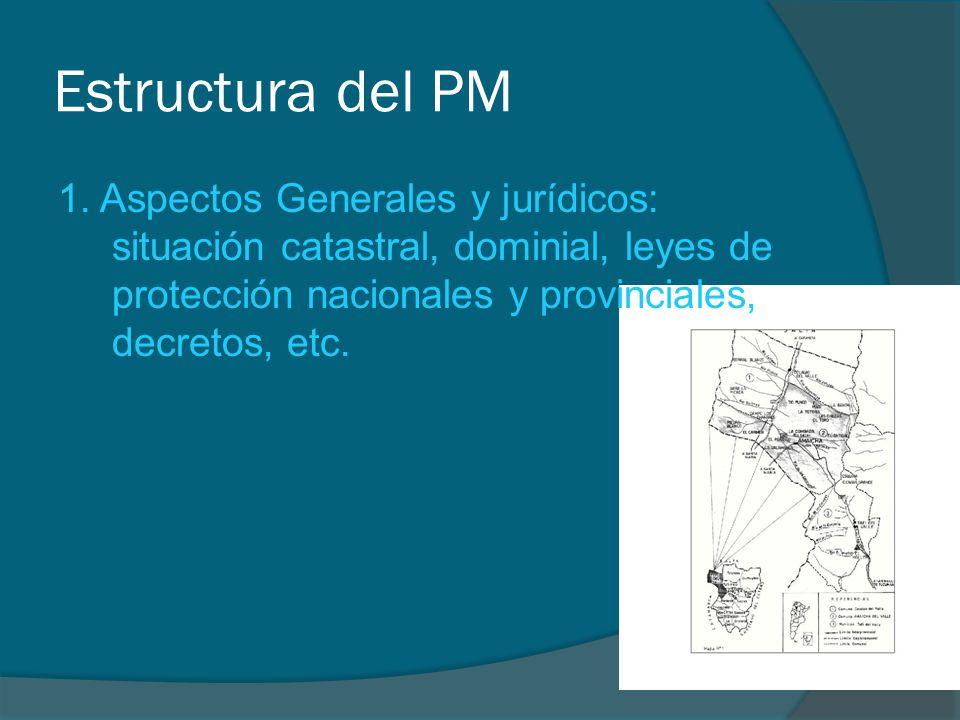 Estructura del PM 1. Aspectos Generales y jurídicos: situación catastral, dominial, leyes de protección nacionales y provinciales, decretos, etc.