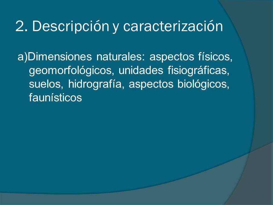 2. Descripción y caracterización a)Dimensiones naturales: aspectos físicos, geomorfológicos, unidades fisiográficas, suelos, hidrografía, aspectos bio
