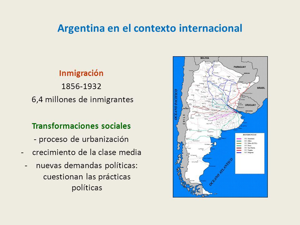 Argentina en el contexto internacional Inmigración 1856-1932 6,4 millones de inmigrantes Transformaciones sociales - proceso de urbanización -crecimiento de la clase media -nuevas demandas políticas: cuestionan las prácticas políticas