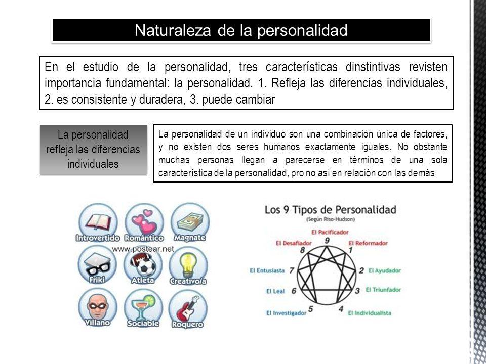 Naturaleza de la personalidad En el estudio de la personalidad, tres características dinstintivas revisten importancia fundamental: la personalidad. 1