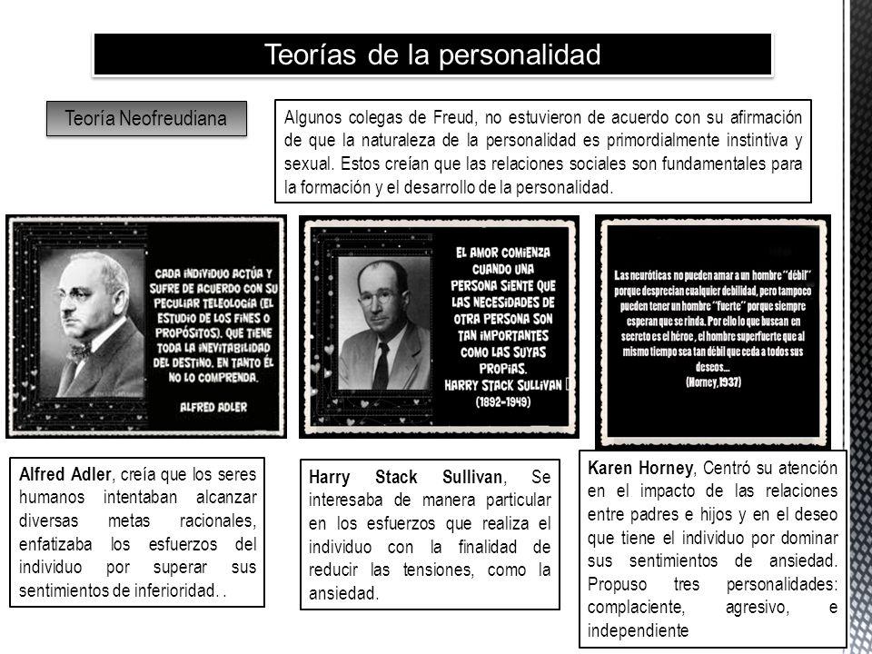 Teorías de la personalidad Teoría Neofreudiana Algunos colegas de Freud, no estuvieron de acuerdo con su afirmación de que la naturaleza de la persona