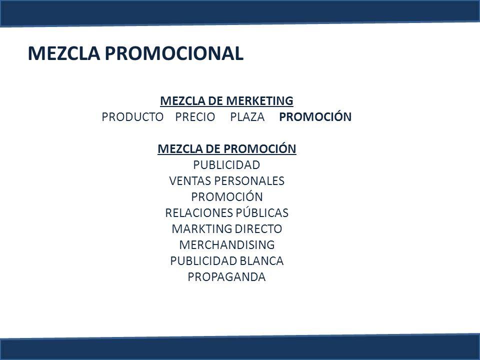MEZCLA PROMOCIONAL MEZCLA DE MERKETING PRODUCTO PRECIO PLAZA PROMOCIÓN MEZCLA DE PROMOCIÓN PUBLICIDAD VENTAS PERSONALES PROMOCIÓN RELACIONES PÚBLICAS