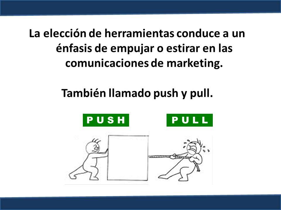 La elección de herramientas conduce a un énfasis de empujar o estirar en las comunicaciones de marketing. También llamado push y pull. P U S H P U L L
