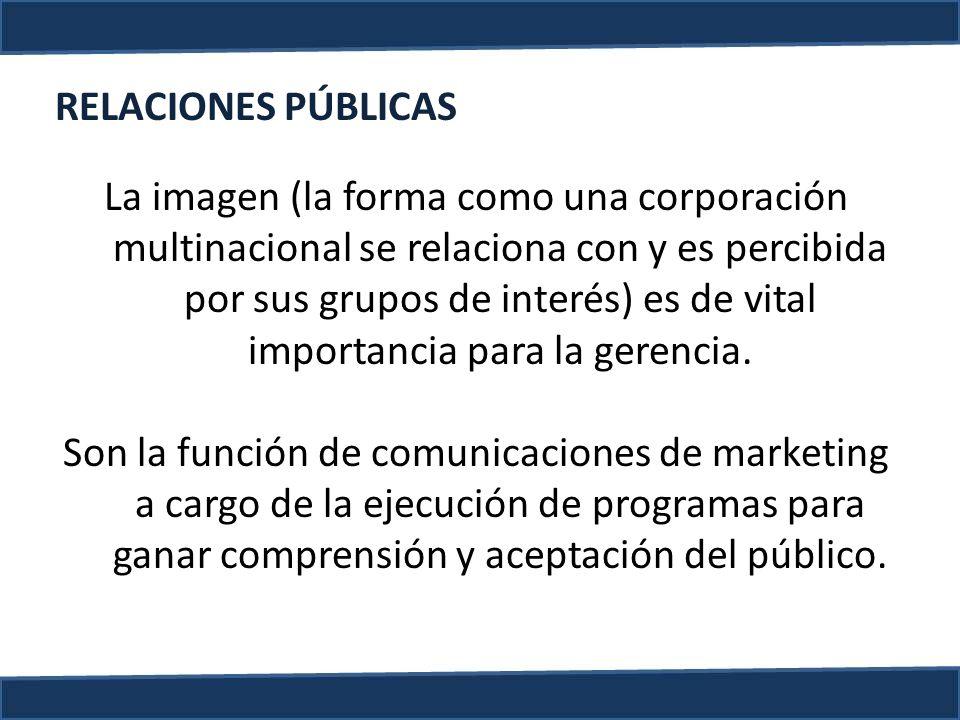 La imagen (la forma como una corporación multinacional se relaciona con y es percibida por sus grupos de interés) es de vital importancia para la gere