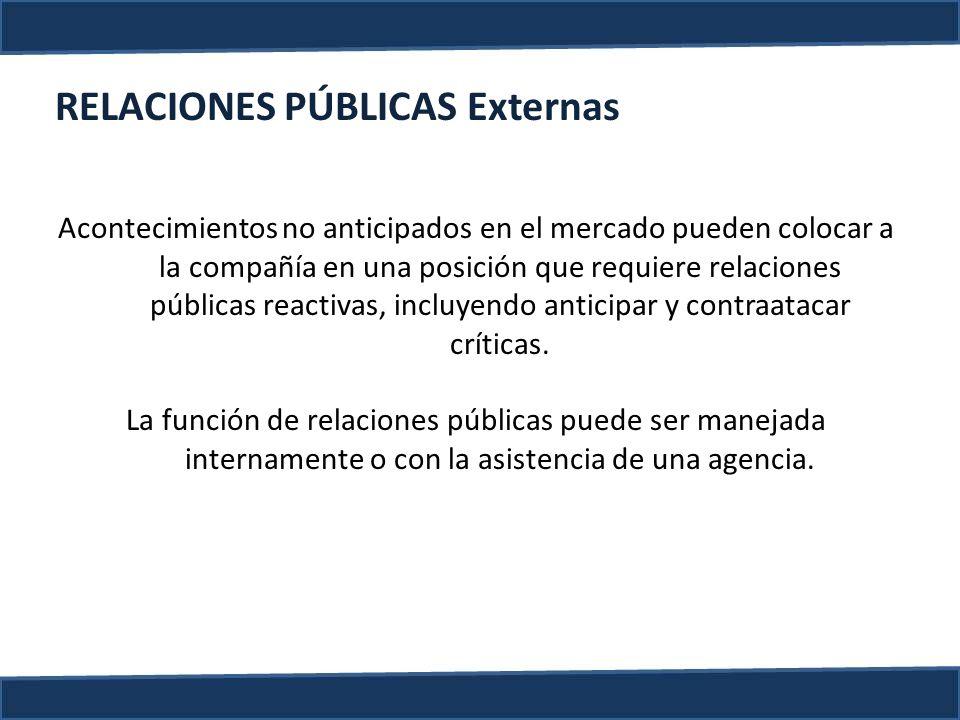 RELACIONES PÚBLICAS Externas Acontecimientos no anticipados en el mercado pueden colocar a la compañía en una posición que requiere relaciones pública