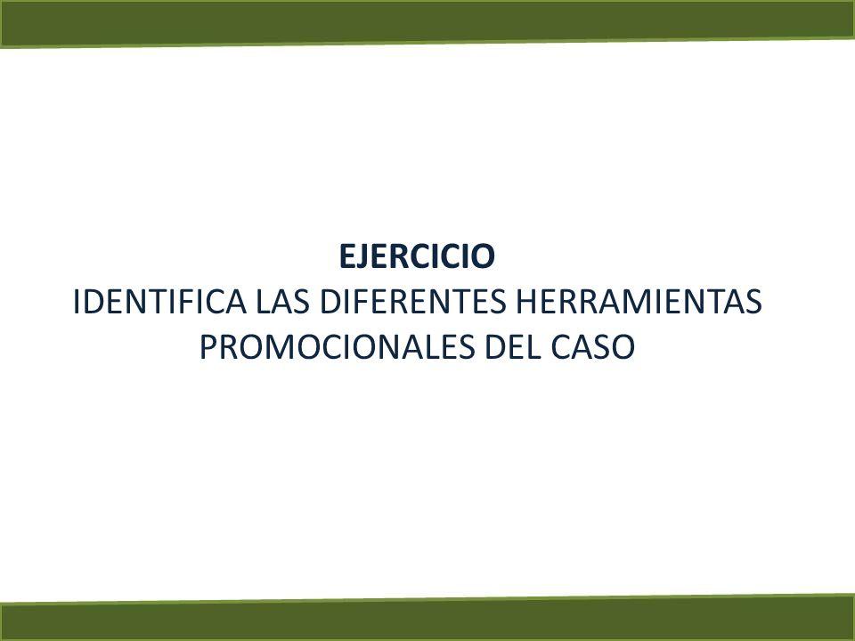 EJERCICIO IDENTIFICA LAS DIFERENTES HERRAMIENTAS PROMOCIONALES DEL CASO